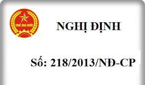 Nghị định số 218/2013/NĐ-CP hướng dẫn thi hành luật thuế Thu nhập doanh nghiệp